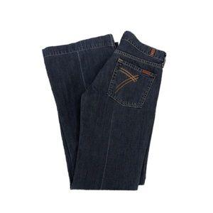 7FAM Dojo Dark Wash Flare Jeans, Size 27